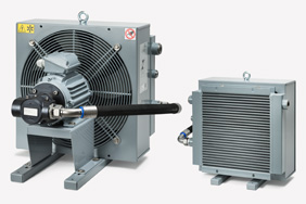 Oil-air cooler with system-specific cooling register / flow rate ratio for temperature stabilization in hydraulic systems.